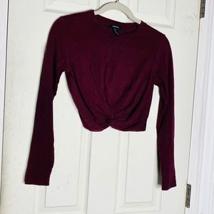Forever 21 crop top S long sleeve red euc womens